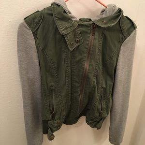 Army Green and grey sleeve zip hooded jacket